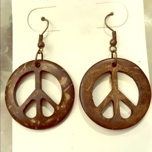 Jewelry - Peace Sign Earrings Coconut Shell Natural Brown